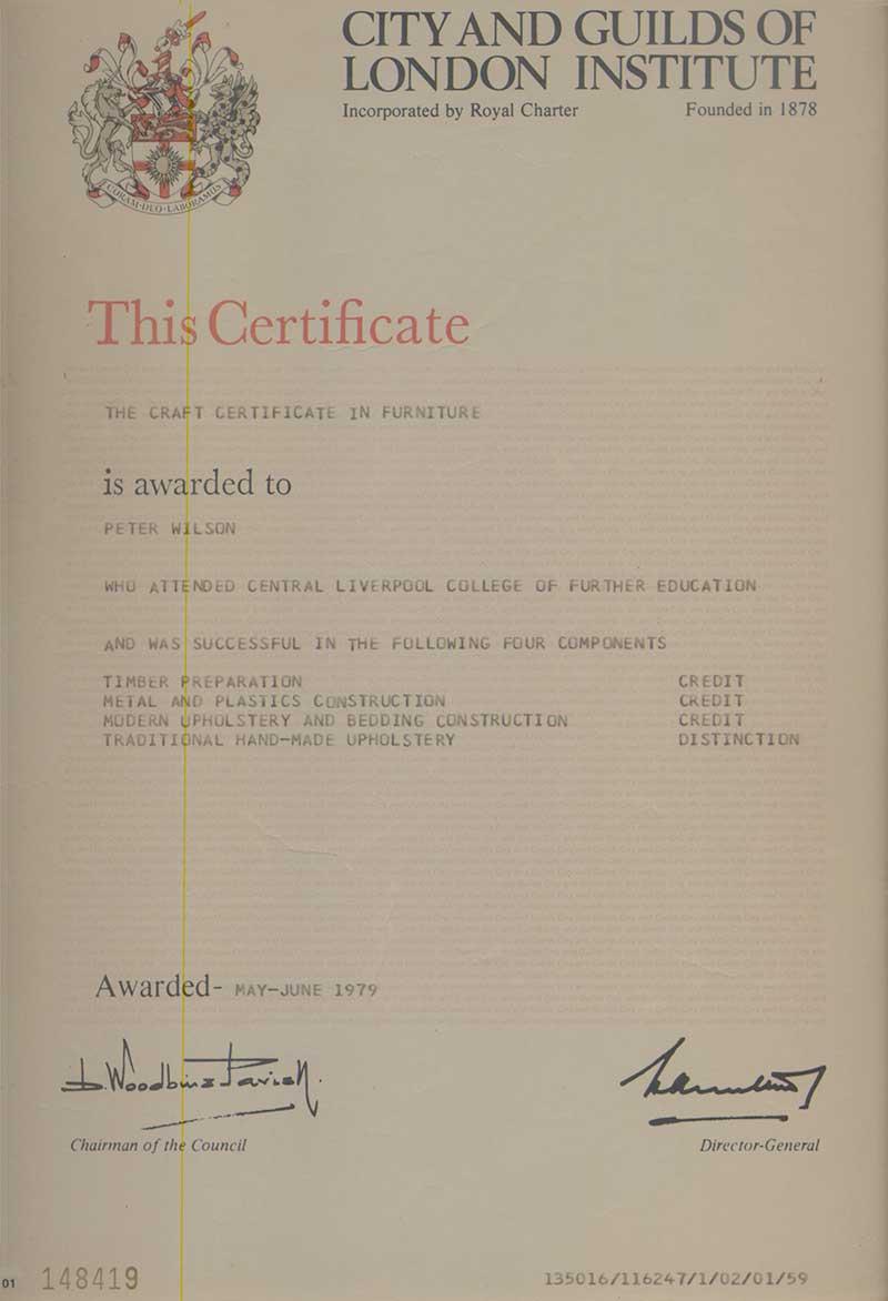 Trade Certificate Wilson Upholstery